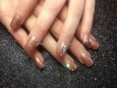 Full set of acrylics with rose gold glitter dust and Swarovski crystals