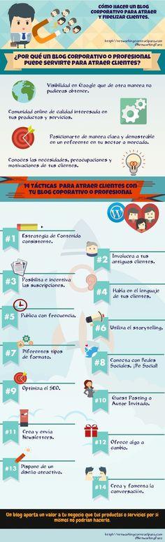 Cómo atraer clientes en tu Blog Corporativo #infografia #infographic #marketing