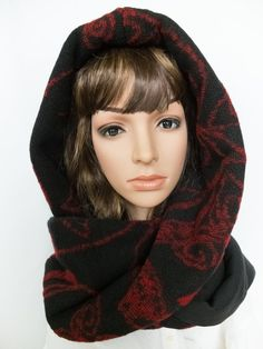 Hooded scarf black red hooded cowl unique gift for by Jousilook