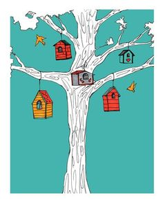 """Original art for sale at UGallery.com   Birdhouses by Maggy O'Reilly   $0   archival print   1"""" h x 1"""" w   http://www.ugallery.com/printmaking-digital-birdhouses"""