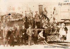 Inauguración del ferrocarril Bilbao-Las Arenas, 30 de junio de 1887.  A la derecha el café El Recreo (Colección Daniel Zubimendi) (ref. Z00371)