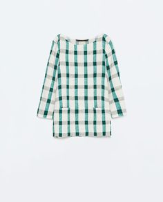 ZARA - NEW THIS WEEK - BOAT NECK CHECKED TOP