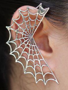 Earring-single-Spider-Web-Gothic-Boucle-doreille-Toile-Araignee-unique-Gothique