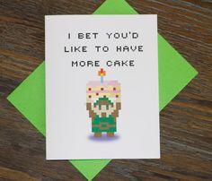 Retro 8bit Legend of Zelda Birthday Card by TurtlesSoup on Etsy, $4.00