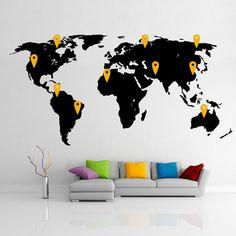 Black World Map - Wall Decal - Vinyl Sticker- with 10 free pins World Map Wall Decal, Vinyl Wall Decals, Wall Decor, Stickers, Handmade, Free, Etsy, Home Decor, Black