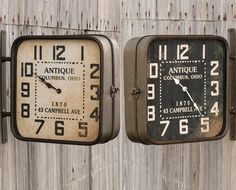 Double Sided Hanging Clock | Square Wall Clock