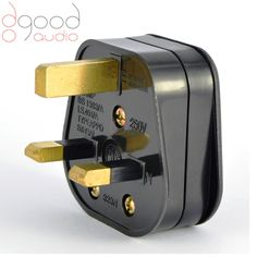 Gold Plated UK 3 Pin Mains Power Plug For Audio Hi-Fi Use, 13a Gold Conductors