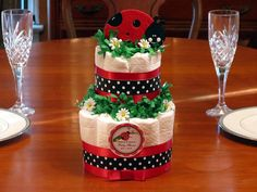 LADYBUG diaper cake centerpiece  2 Tiers  red pink by shadow090109, $27.99