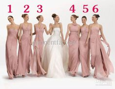 Stunning Mix Bridesmaid Dresses in Six Different Sytles Dusky Pink Long Wedding Party Sisters Bridesmaids Dresses