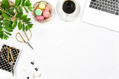 Workplace coffee, cookies, laptop by LiliGraphie on @creativemarket