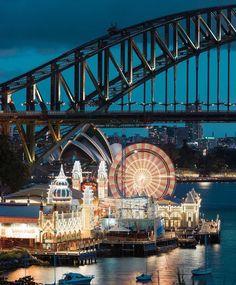 Luna Park Sydney, Sydney Harbour Bridge, Travel, Voyage, Viajes, Traveling, Trips, Tourism