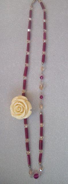 Fuschia Quartz n Champagne Cream Rose Necklace by CaroLinesJewel, $35.00