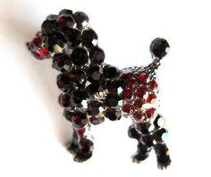 Vintage Dark Garnet & Ruby Red Rhinestone Poodle Brooch Pin Dark Silver Tone Figural Teeny Tiny Cute Mini Miniature