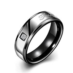 Men Jewelry - Mens Womens Classic Black 7MM Wedding Bands 316L Titanium Stainless Steel Tungsten Forever Love Promise Rings High Polished Finish Comfort Fit Size 7 ** Want to know more, click on the image.