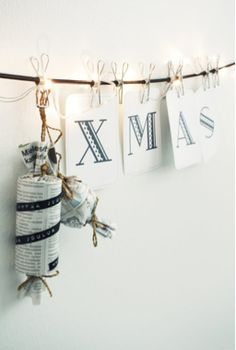 Christmas - hang in dining room, then as Christmas cards come in mail, remove letters and put a card in place.