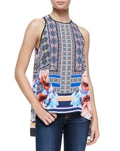 Byzantine Mixed-Print Scarf Top by Clover Canyon at Neiman Marcus.
