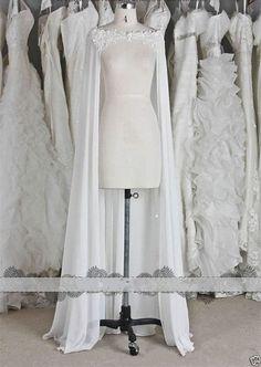 Chiffon Wraps Wedding Jacket Bridal Cloak Lace Bridal Dress's Cape   eBay