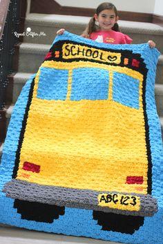 Crochet School Bus Blanket - Repeat Crafter Me C2c Crochet Blanket, Blanket Yarn, Tapestry Crochet, Knit Or Crochet, Crochet Blanket Patterns, Crochet Baby, Crochet Afghans, Crochet Blankets, Crochet Stitches