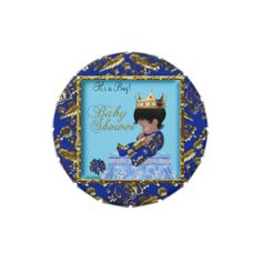 Baby Shower Blue Gold Boy crown prince Favor Jelly Belly Candy Tin