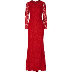 Needle & Thread Crystal-embellished lace gown (3 700 ZAR) ❤ liked on Polyvore featuring dresses, gowns, red, lacy red dress, lace evening dress, red lace gown, lace ball gown and lace gown
