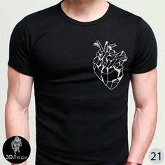 bee439407ad9b Мужская чёрная стрейчевая #футболка с подвёрнутым рукавом. Принт серебром -  Грани сердца Смотреть все