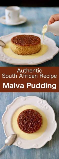 pudding is a honey-toned sweet and rich cake of Cape Dutch origin, that is covered with a cream before being served.Malva pudding is a honey-toned sweet and rich cake of Cape Dutch origin, that is covered with a cream before being served. South African Desserts, South African Dishes, West African Food, South African Recipes, Africa Recipes, Just Desserts, Delicious Desserts, Dessert Recipes, African Cake