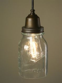 All of their repurposed lighting is great, but there's a particular sweetness to the ball jar pendants.
