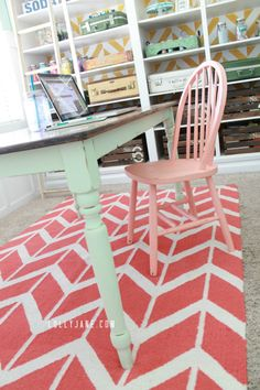 Stain top and mint homemade chalk paint farmhouse table redo. Super cute craft room!