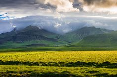 Beautiful Iceland - Green meadows, mountains, dramatic clouds in the sky and a beautiful warm and golden light - stunning landscape in West Iceland (Snaefellsnes), Europe. Click on the link or the image to buy a poster, fine art print or canvas print: http://matthias-hauser.artistwebsites.com/featured/iceland-landscape-snaefellsnes-with-amazing-light-matthias-hauser.html 30 days money back guarantee. (c) Matthias Hauser hauserfoto.com