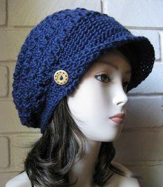 Navy Blue Slouch Newsboy Hat Crochet Slouchy Newsboy Cap Adult  Beanie Hat with Visor Beret Tweed Cap Beanie hat Slouchy Crochet hippie Tam