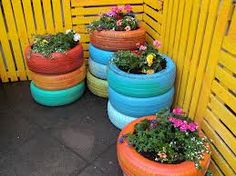 Upcycled tyre planters