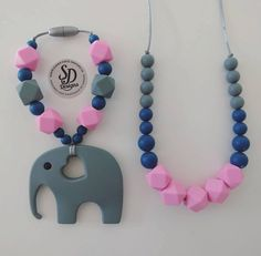 Silicone Teething Set - Elephant Teething Ring & Necklace- Choose Color Chew Beads Teething Toy Baby Carrier by SDDesignsCa #SDDesigns #Etsy #Handmade #Teether #Mommies
