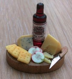Dolls house miniature food Cheese and Wine by worldinminiatureuk