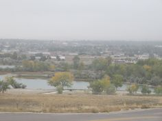View of the pond by the eastside dog park from halfway up the hill, Casper, Wyoming