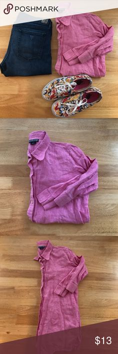 Lands End Linen Top Gently worn, good condition. Thin linen material. Half sleeves. Button down. Loose fit. Soft pink heathered with white Lands' End Tops