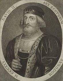 David II (1324 - 1371). King of Scotland from 1329 to his death in 1371. He fled to France in 1333 to escape the war against England. In 1346 he was taken prisoner by the English and did not return to Scotland until 1357. He married twice but had no children. He was the last king of the House of Bruce.