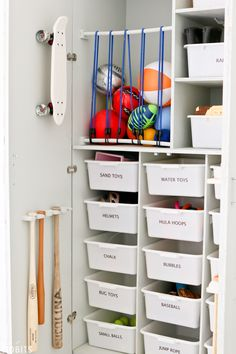 Garage Toy Storage & Organization - Tidbits - - I finally found a way to love all my kids outdoor toys and it just took creating a garage toy storage and organization cabinet. Read on for some fun toy organization ideas! Outdoor Toy Storage, Diy Toy Storage, Diy Garage Storage, Storage Ideas, Garage Shelf, Toy Storage Organizer, Storage For Kids Toys, Toy Storage Units, Toy Storage Solutions