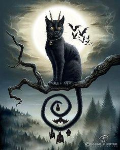 Halloween Pictures, Halloween Cat, Dark Fantasy Art, Dark Art, Dibujos Pin Up, Black Cat Art, Witch Art, Arte Horror, Dark Photography