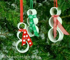 DIY PVC Christmas Snowman Ornament by Marji  Roy @ AshbeeDesign.com