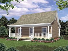 Eplans Cottage House Plan - Charming Country Cottage - 800 Square Feet and 2 Bedrooms(s) from Eplans - House Plan Code HWEPL14095