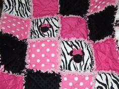 I will Make U Personalized  Shabby  Baby  Girl Pink N Black Zebra  Minky  Minnie Mouse  Rag Quilt  Minky Chenille on Etsy, $64.99
