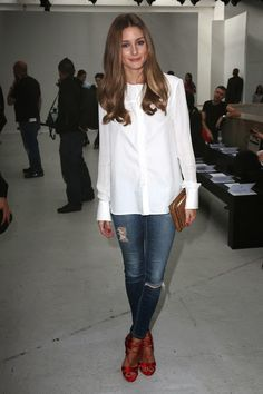 Olivia Palermo in AG Jeans, Susan Woo blouse & Aquazzurra heels