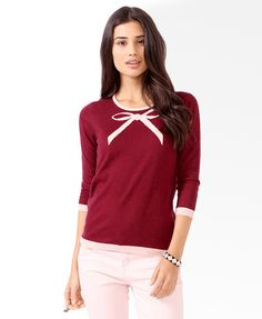NWT Forever 21 Contrast Trimmed Bow Sweater in Burgundy/peach sz M