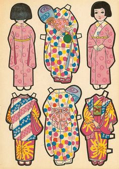 Vintage cut out paper dolls toys from Japan