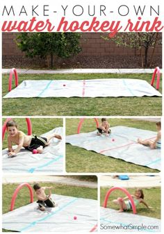 To Make A Water Knee Hockey Rink My kids LOVE this! Make your own water hockey rink and play hockey on your knees.My kids LOVE this! Make your own water hockey rink and play hockey on your knees. Fun Outdoor Activities, Outdoor Games, Summer Activities, Outdoor Fun, Backyard Games, Backyard Ideas, Backyard Ice Rink, Outdoor Ideas, Hockey Birthday