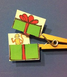{Clothespin Christmas Surprises//Would be great to target WH-questions, inferencing, etc.}