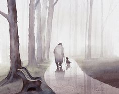 Man, Dog, Park, Misty, Tree, Companion  ▼Archival reproduction of original watercolor painting by T.C. Chiu  ▼Choose from 8x10, 12x15, 16x20