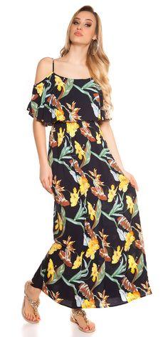 Dámské letní dlouhé šaty na ramínka s barevným květovaným potiskem, doplněno volánem. Cold Shoulder Dress, Womens Fashion, Dresses, Vestidos, Women's Fashion, The Dress, Dress, Woman Fashion, Fashion Women