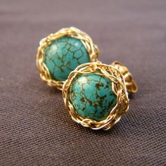 ***Turquoise Post Earrings, Crochet Gold Filled Wire Studs $25.00***