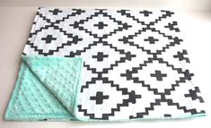 Mint black white southwest diamond minky baby blanket - plus cross sign tribal…